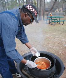 Mack Burgess hosts Catfish Stew Tasting. --Photos by Lisa Smarr