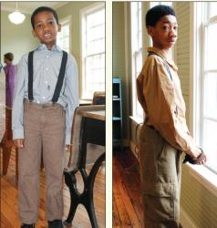 "Brothers Graeson and Kincaid Cunnings portray former Rosenwald students Jasper and James during the dramatized ""Visit with Former Rosenwald Students."" – Photos by Lisa Smarr"